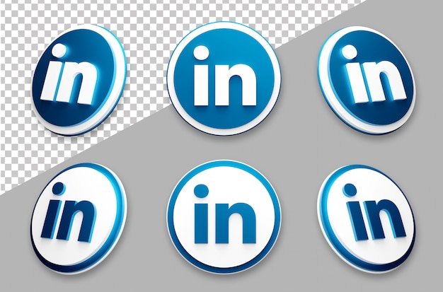 3d style linkedin social media logo set