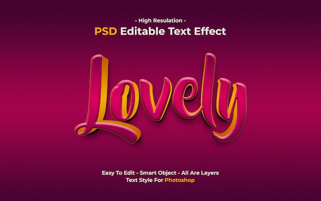 3d style lovely text effect