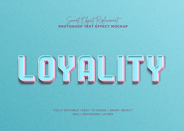 3d style loyality text effect