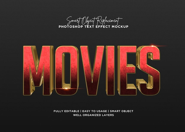 3d style movies text effect template