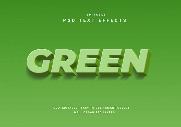 3d style nature green text effect