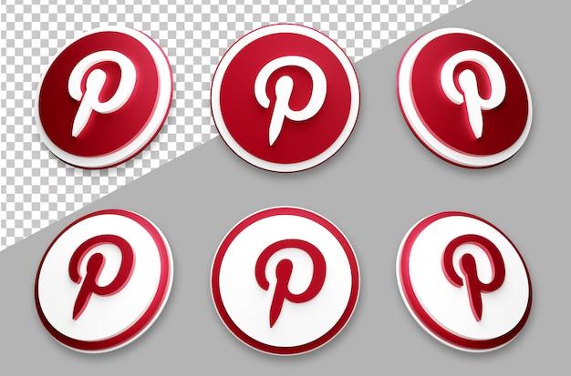 3 dスタイルのpinterestソーシャルメディアのロゴセット