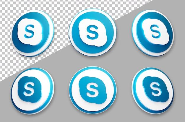 3dスタイルのskypeソーシャルメディアのロゴセット