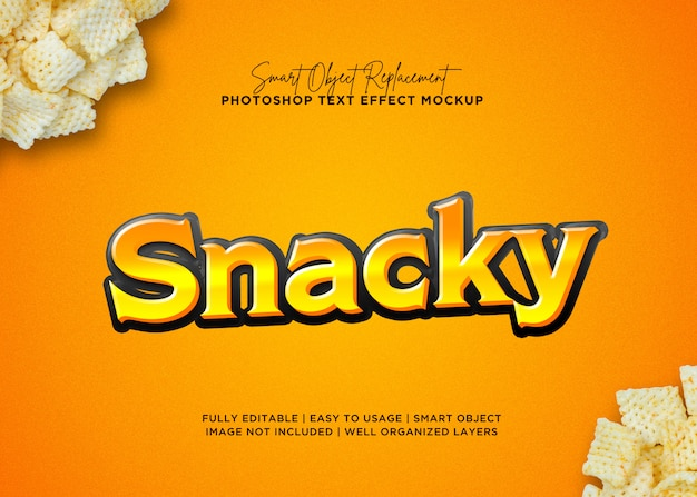 3d style snack text effect