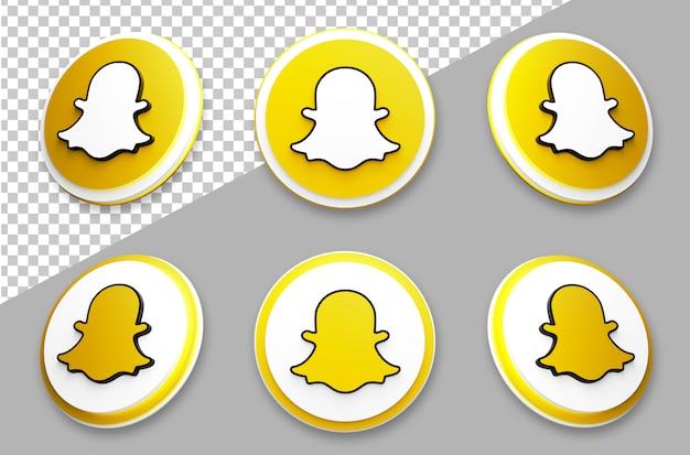 3d style snapchat social media logo set