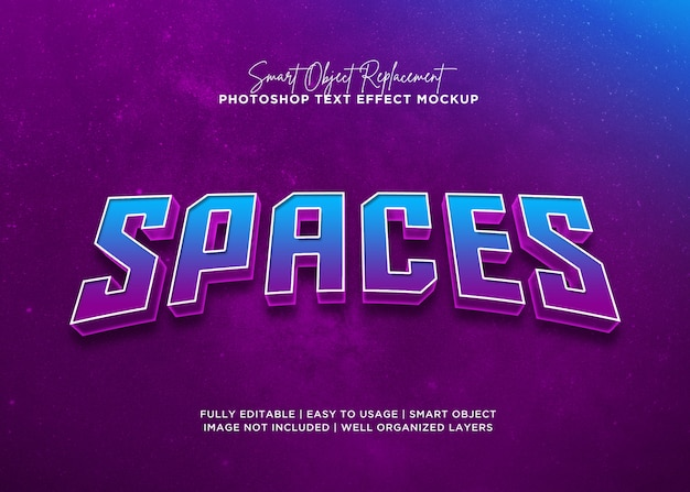 3d style spaces text effect