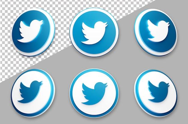 3d style twitter social media logo set