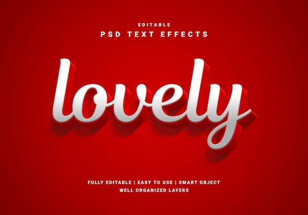 3d style valentine lovely text effect