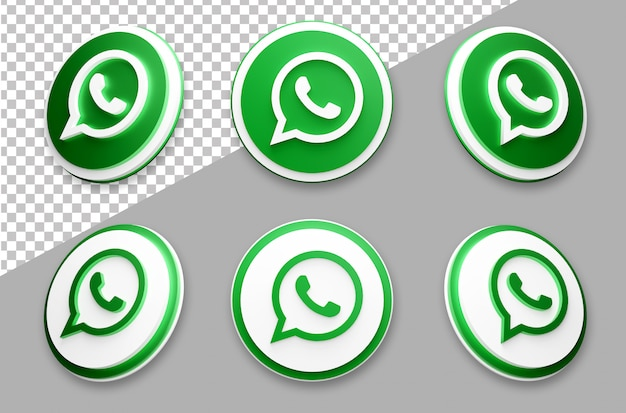 3d style whatsapp social media logo set