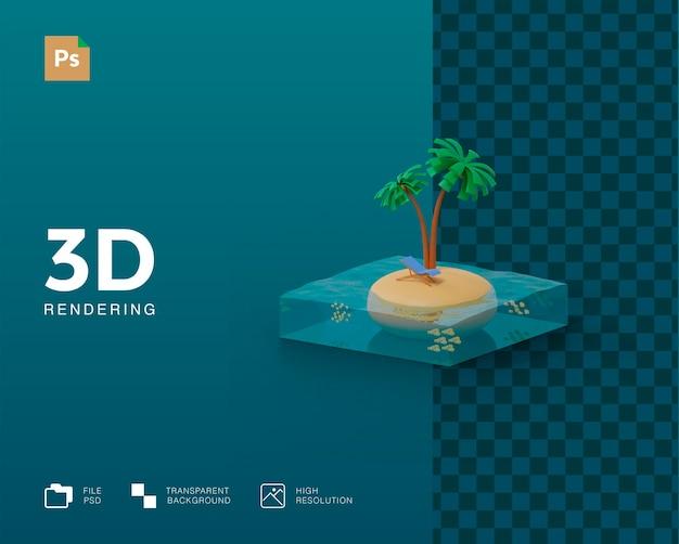 3d夏の島のイラスト
