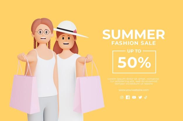 쇼핑백을 들고 3d 여성 캐릭터와 함께 3d 여름 판매 할인 템플릿