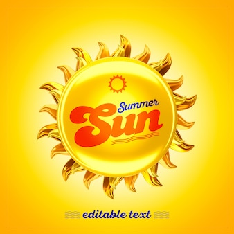 3d летнее солнце Premium Psd