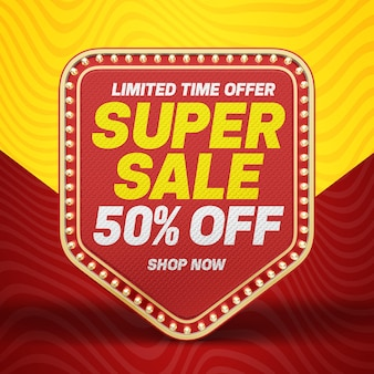 3d super sale banner with up to 50 discount