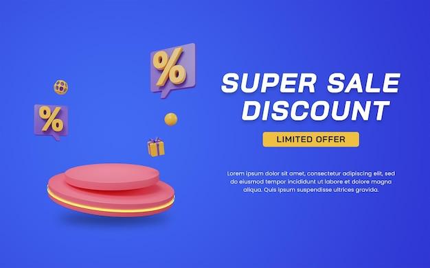 3d super sale discount podium promo display banner template