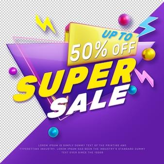 Banner di promozione del titolo di sconto super vendita 3d