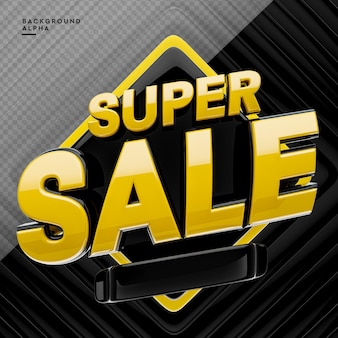 3d super sale logo in 3d rendering