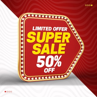 3d super sale red retro light banner with up to 50 off