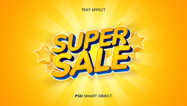 3d super sale with yellow and blue color theme.