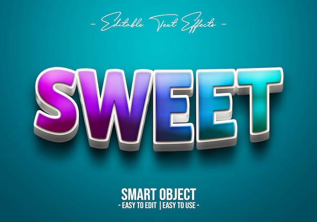 3d sweet text style