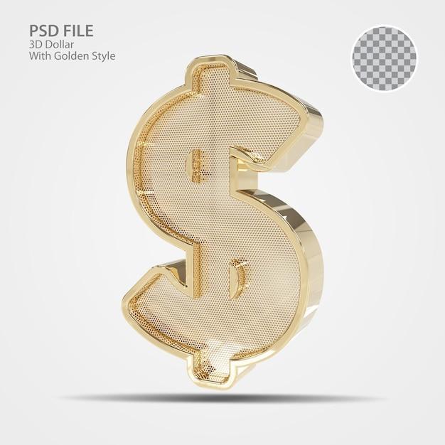 3d символ доллар золото