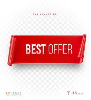 3d tag best offer rendering mockup isolated