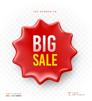 3d tag big sale rendering mockup isolated