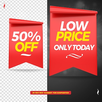 3d tag low price rendering mockup isolated