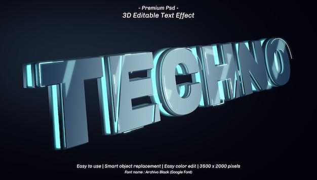 3d techno editable text effect