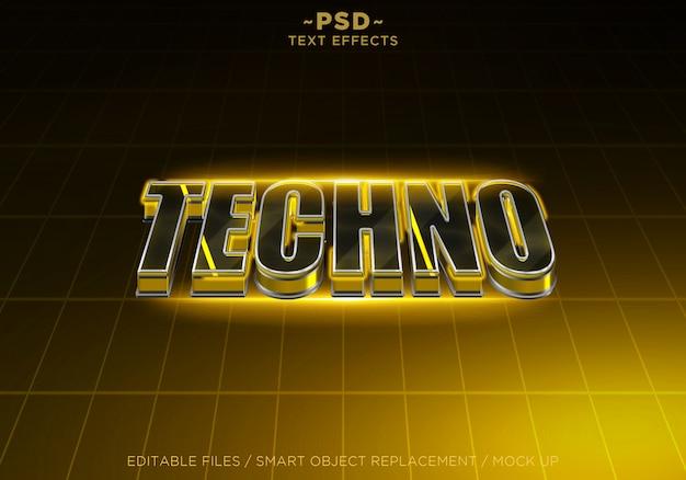3d techno желтый редактируемый текстовый эффект