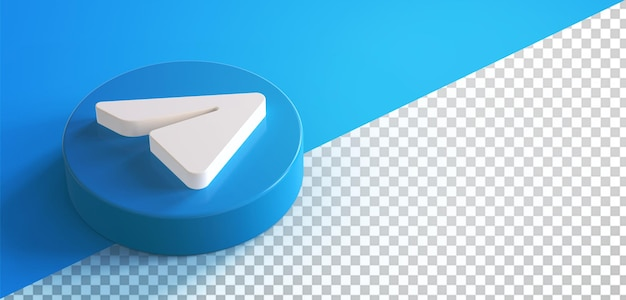 3d telegram circle button icon isolated