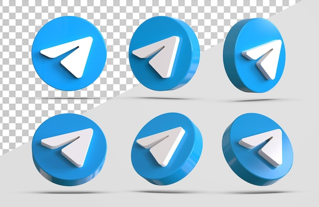 3d telegram icon collections isolated