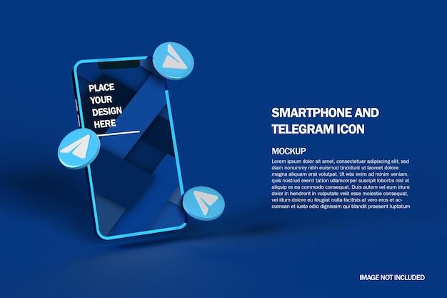 모바일 스마트 폰 모형과 3d 전보 아이콘