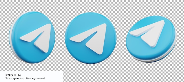 Набор элементов дизайна значка логотипа телеграммы 3d с различными ракурсами высокого качества