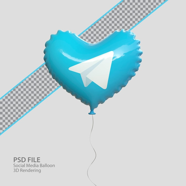 3d telegram с воздушным шаром