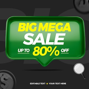 3d text box big mega sale with up to 80 percentage