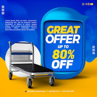 3d text box blue great offer with cargo trolley up to 80 percentage off