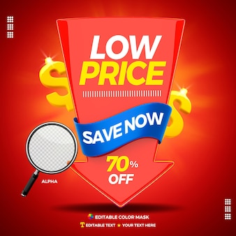 3d text box low price save now with arrow 70 percentage off