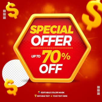 3d text box special offer with up to 70 percentage off