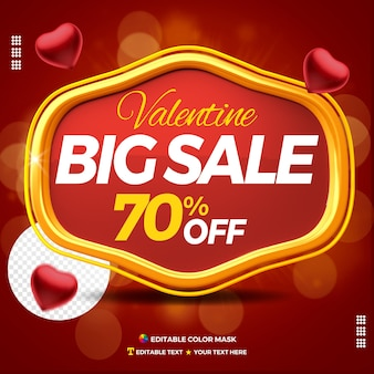 3d text box valentine big sale with up to 70 percentage off