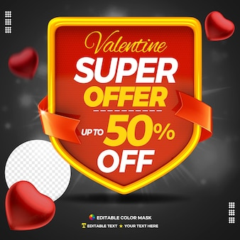 3d text box valentine super sale with up to 50 percentage off