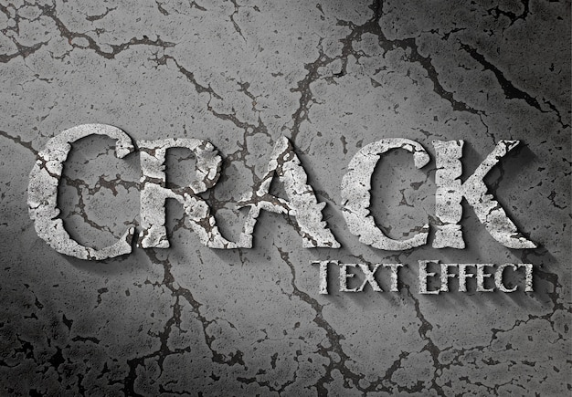 3d text effect on cracked surface