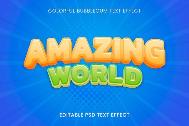 Шаблон psd с трехмерным текстовым эффектом, высококачественная типография с жевательной резинкой