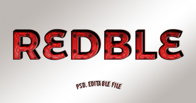 3d text effect style with red and black