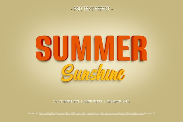 3d text effect summer sunshine