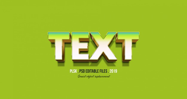 3d text effect with green background