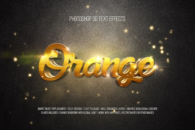3d text effects - orange