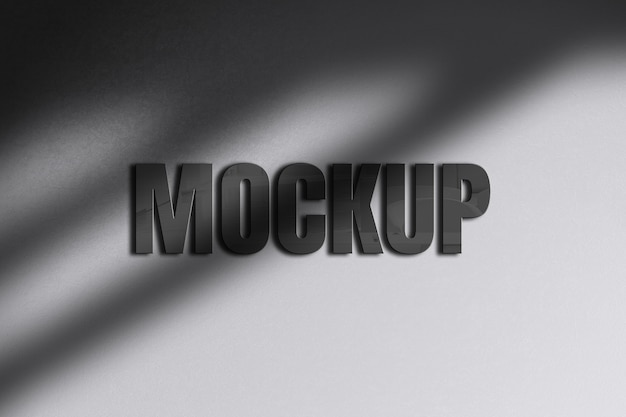 影付きの3dテキストの光沢のあるモックアップデザイン