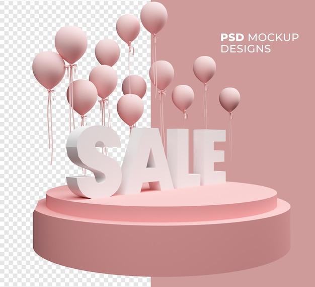 3d text sale mockup and balloon isolated