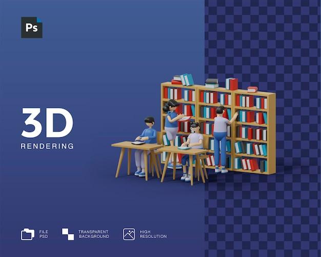 3d концепция обучения чтению книг в библиотеке