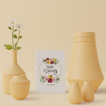 3 dテーマスプリングカードとテーブルの装飾